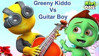 Greeny Kiddo Vs Guitar Boy | Funny Video For Children - KidsOne