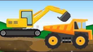 Monster Truck and construction machine. Maszyny budowlane Bajka Dla Dzieci