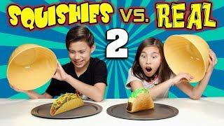 SQUISHY FOOD VS. REAL FOOD CHALLENGE 2!!!  More JUMBO SQUISHIES!