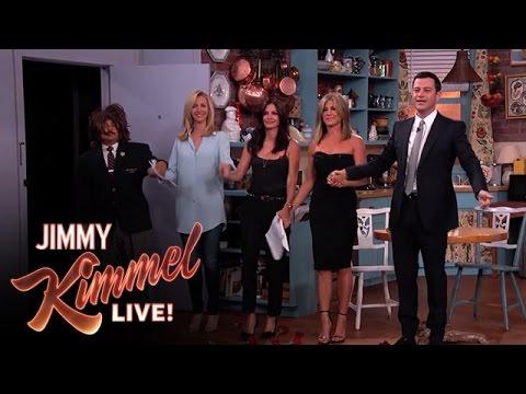 Jennifer Aniston, Courteney Cox, Lisa Kudrow and Jimmy Kimmel in