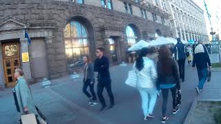 Tourists at Kreschatik Street & Independence Square in Kiev, Ukraine