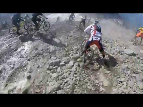 GoPro HD: Megavalanche Glacier Top section and Witnessing HUGE Crash!!!