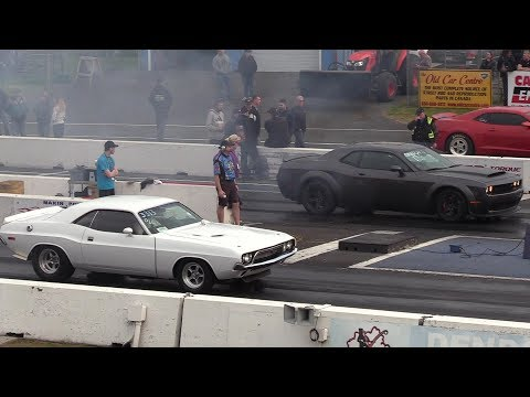 New muscle cars vs old muscle part 1 sound top speed drag races and burnouts