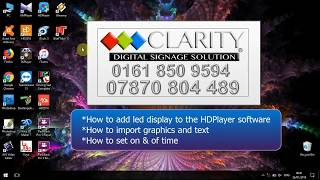 HOW TO USE HD PLAYER SOFTWARE - HOW TO ADD NEW SCREEN TO THE PROGRAM BY CLARITY LED LTD