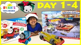 SURPRISE TOYS Christmas Thomas Train Disney Tsum Tsum Hot Wheels Toy Cars  Advent Calendar Day 1-4