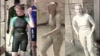 Linda gets very messy in the mud on French Fort Boyard.