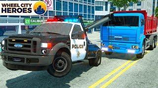 Police Wrecker Truck Pulling Broken Dump Truck - Wheel City Heroes (WCH) - Street Vehicles Cartoon