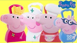 PEPPA & GEORGE PIG Carry Cases with Nurse Medic, Chef, Princess & Superhero