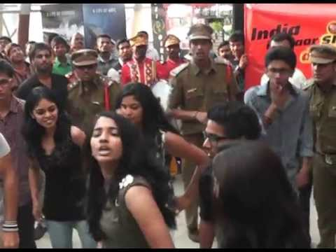 Allu Sirish and Yaami Gautam at Jumping Jhapak Flash Mob at Prasads Multiplex Hyderabad