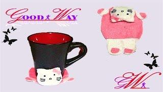 طريقة عمل قاعدة كوب بإستخدام قماش الجوخ (هيلو كيتي) \ Cute Hello Kitty Coasters