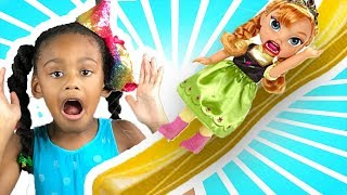 Baby Doll playtoys | Elsa & Anna Toddler Little Anna Scared of Slide - Bully! Ice Cream