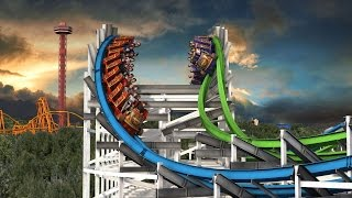 Six Flags Twisted Colossus POV New For 2015! Magic Mountain Roller Coaster Animation B-Roll