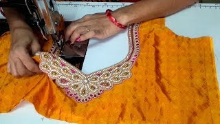 readymade neck patch attachment for designer blouse cutting and stitching