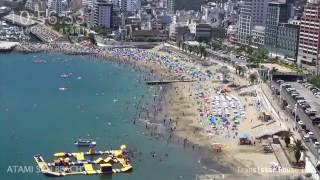 アタミラプス:夏の日の朝のサンビーチ 2016年8月7日