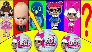 LOL Surprise Dolls Play Surprise Toy Game with Smurfs, Boss Baby, Hatchimals | Ellie Sparkles
