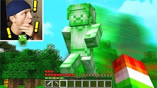 FINDING GIANT GREEN STEVE IN MINECRAFT!