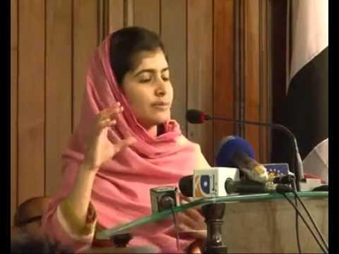Heart-touching speech by Malala Yousafzai .
