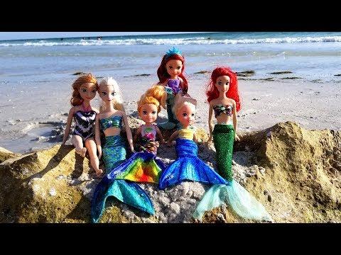 Xxx Mp4 MERMAID Tails Elsa And Anna Toddlers At Beach Ariel Sand Swim Floatie Water Fun Splash 3gp Sex