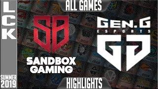 SB Vs GEN Highlights ALL GAMES | LCK Summer 2019 Week 6 Day 1 | Sandbox Gaming Vs GenG