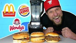 SMOOTHIE CHALLENGE - Big Mac, Whopper, Baconator *FAST FOOD TASTE TEST*