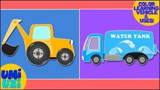 Learn Color With Excavator And Water Tank Learning Video For Kids