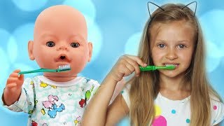 Morning routine with Baby Born Doll and Sonya, Video for Kids