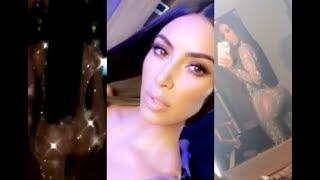 Kim Kardashian showing her FULL BOOTY off in shining bodysuit (FULL SNAPCHAT)