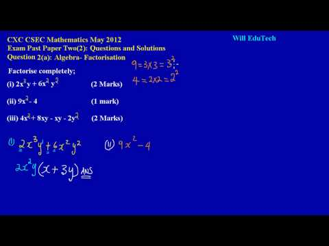 Xxx Mp4 CSEC CXC Maths Past Paper 2 Question 2a May 2012 Exam Solutions Answers By Will EduTech 3gp Sex