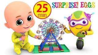 Kids Toys - Giant Wheel Ride at amusement park    Surprise Eggs unboxing Toys for Kids