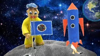 Baby Alexander Launch to the Moon superhero kids stop motion Funny Play Doh cartoon videos