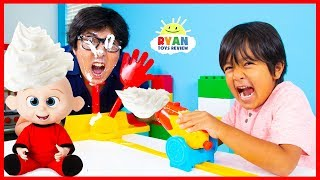 PIE FACE CANNON CHALLENGE With Ryan and Incredible 2 Jack Jack vs. Daddy!