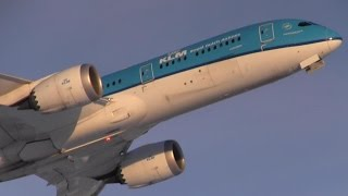 KLM 787-9 Dreamliner [PH-BHA] Sunset Takeoff from Calgary Airport ᴴᴰ