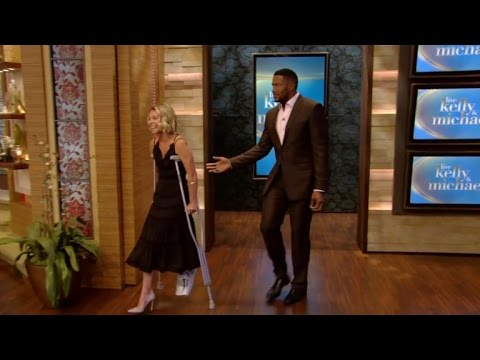 Kelly Ripa Hobbles To Set On Crutches, Reveals She Broke Her Foot!