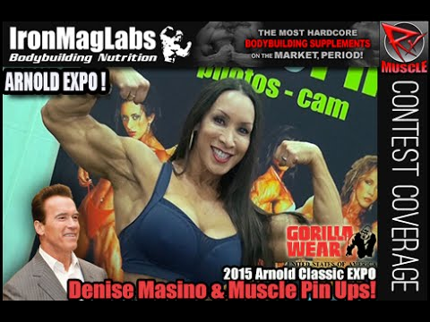 Denise masino amp muscle pin ups booth at the 2015 arnold classic