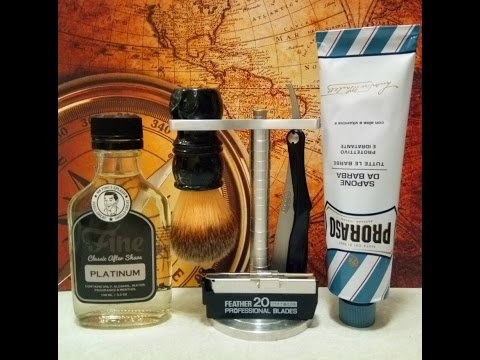 Feather Artist Club SS,  Proraso Blue with Fine Platinum aftershave