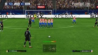 PES 2017 | Real Madrid vs Atletico Madrid | Ronaldo Free Kick Goal | UEFA Champions League (UCL)