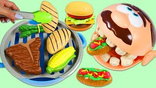 Feeding Mr. Play Doh Head Little Sprouts Pretend BBQ Barbecue Playset & Surprise Toys Opening!