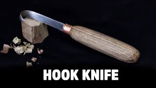 Making a Hook Knife from a saw blade and firewood - HNB #17