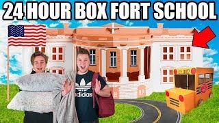 24 HOUR BOX FORT HIGH SCHOOL CHALLENGE!! 📦🚌 Robots, Cool Kids & School Roleplay