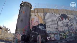 """جرافيتي لـ""""بناكسي"""" يظهر ترامب وهو يعانق الجدار الإسرائيلي العازل بالضفة"""