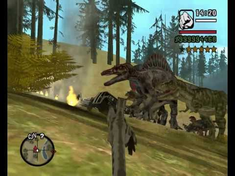 GTA San Andreas Dinosaur and King Kong vs COPS CJ Billy