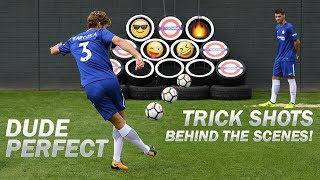 Dude Perfect Trick Shots | Exclusive Behind The Scenes with Morata, Alonso, Cahill, Courtois & Luiz!