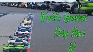 GTA 5 - World's Greatest Drag Race 10 (ALL SUPER CARS) (Before Smuggler's Run DLC)