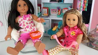 Doll Bunk Bed Slime DIY Sleep over Party - American Girl Play Videos