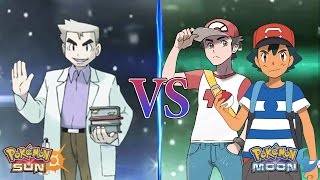 Pokemon Sun and Moon Professor Oak Vs Alola Ash and Alola Red