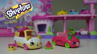 Shopkins Cutie Cars Exclusive First Look at Series 1 Motor Melon and Wheely Wishes