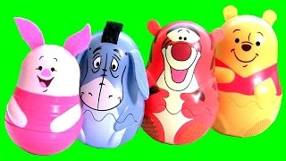Winnie the Pooh Stacking Cups Surprise Eggs Nesting Toys with Tigger Eeyore Piglet Play Doh Magiclip