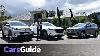 Mazda CX-9 vs Toyota Kluger vs Kia Sorento 2018 review