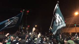 Philadelphia Eagles fans celebrate the team's 38-7 win in the NFC Championship Game