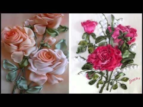 Вышивка лентами розы с листьями от мастера шепилова 21